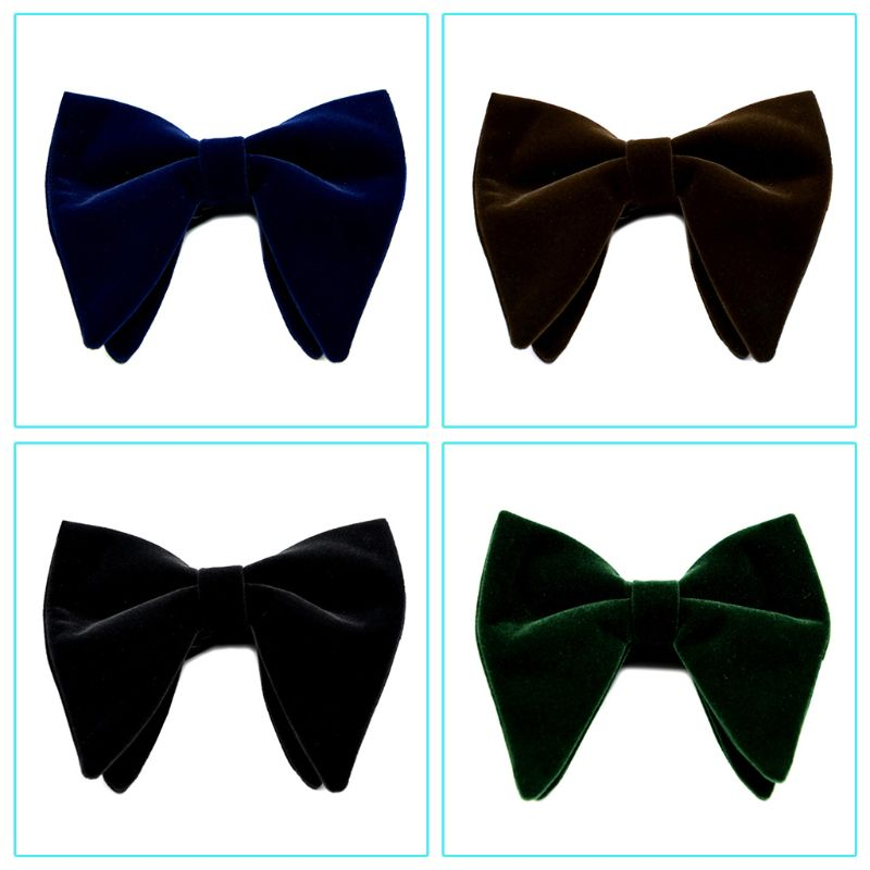 Mens Velvet Vintage Double Layer Pre-Tied Handmade Bow Tie Glitter Solid Color Tuxedo Big Oversized Adjustable Length Necktie
