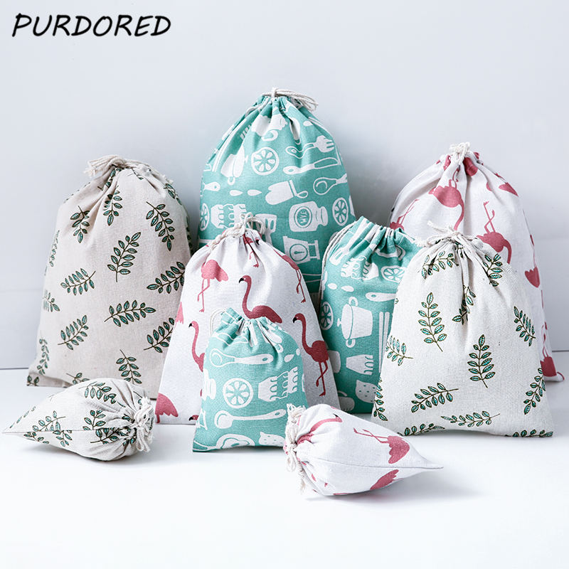 PURDORED 1 Pc Portable Flamingo Drawstring Bag Women Dustproof Travel Storage Bag Cotton Leaf Women Makeup Organizer Bags