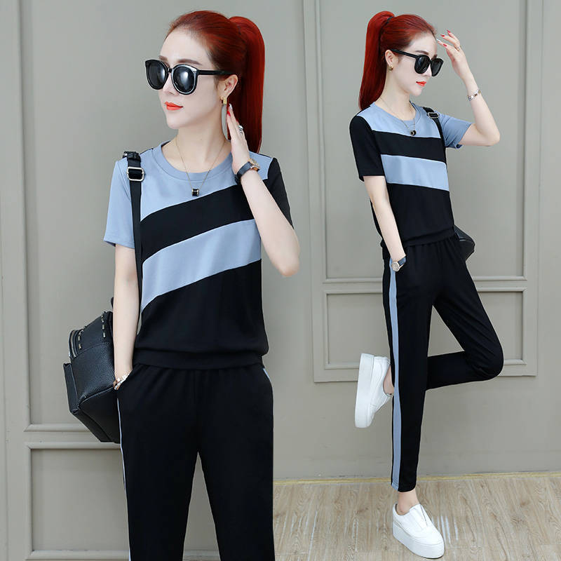 Sports WOMEN'S Suit Summer New Style Korean-style Loose And Plus-sized WOMEN'S Dress Short Sleeve-Style Running Casual Two-Piece