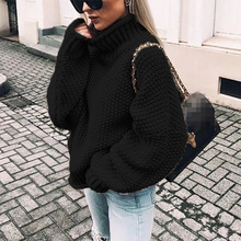 Women Turtleneck Sweater 2019 Autumn Winter Female Bat Sleeve Casual Solid Loose Pullovers Plus Size