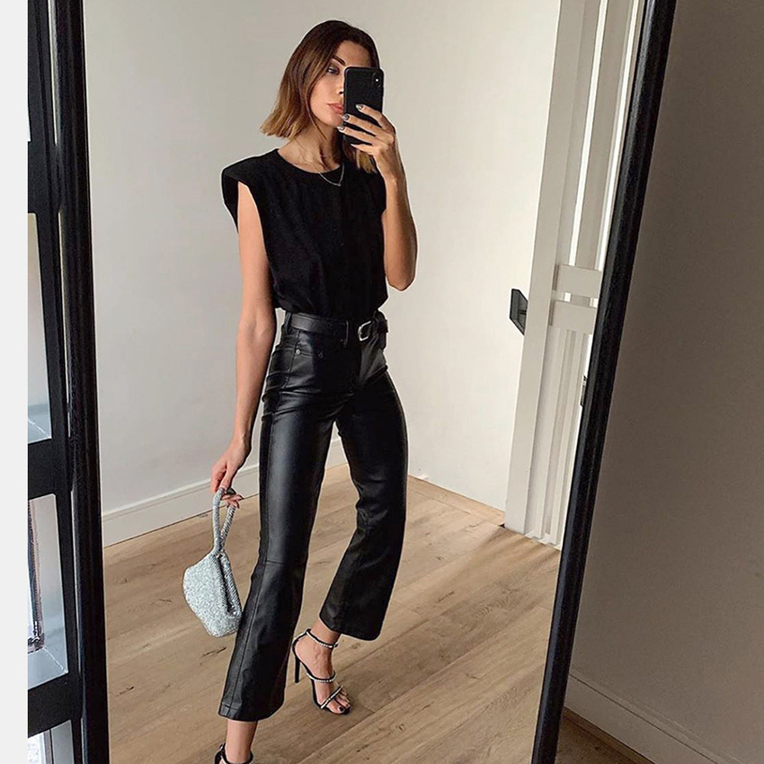 2020 Spring And Summer New Style Cross Border Hot Selling Solid Color Women's Loose-Fit Round Neckline Sleeveless T-shirt