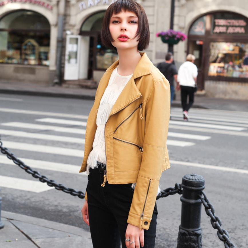 2019 autumn new slim yellow small   leather   jackets ladies short versatile locomotive European and American PU   leather   jacket F87