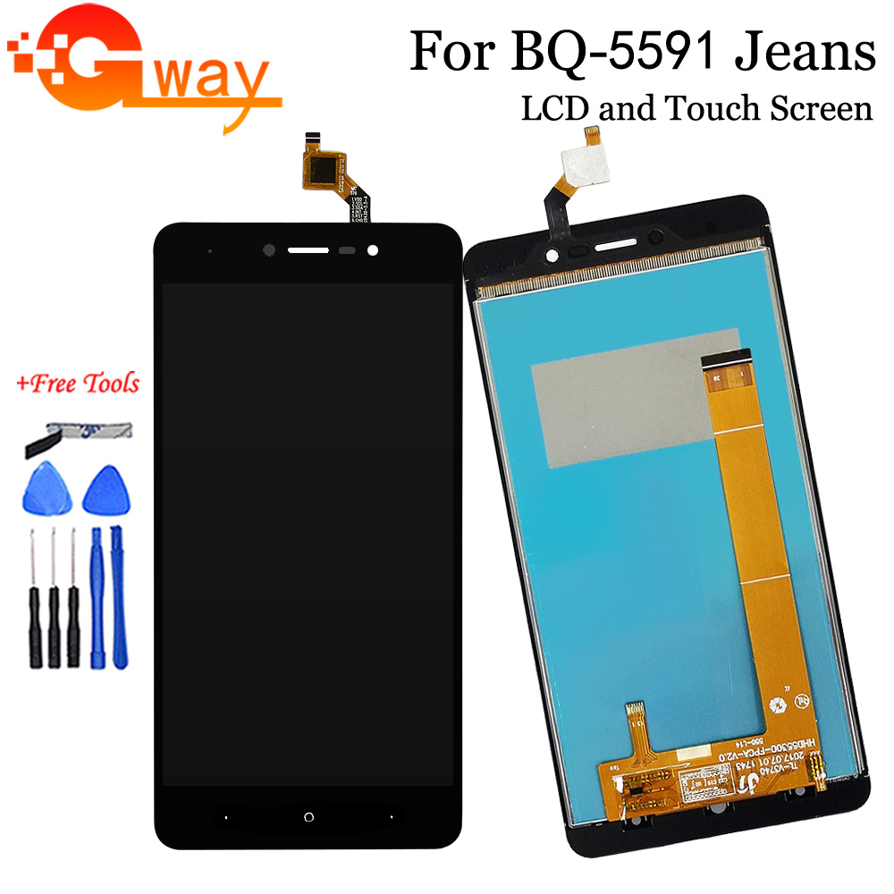 Black SHIFENX LCD Screen and Digitizer Full Assembly for BQ BQ-5058 Strike Power Easy Color : Black Replacement Part