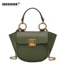 EXCELSIOR Fashion Womens Messenger Bags Trapeze Top-handle Crossbody Bag PU Leather Handbag Fine Hardware Buckle