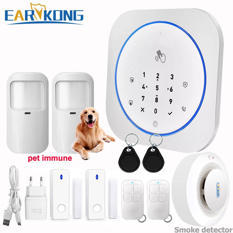 GSM Alarm System Safe RFID APP Touch Keyboard 433MHz Door Open & Closed Sensor Alarm Infrared PIR Animal Immune Motion Detector
