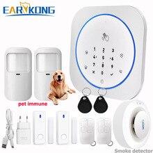 Sistema de alarma GSM seguro RFID APP teclado táctil 433MHz puerta abierta y cerrada Sensor alarma infrarrojo PIR animal immune detector de movimiento
