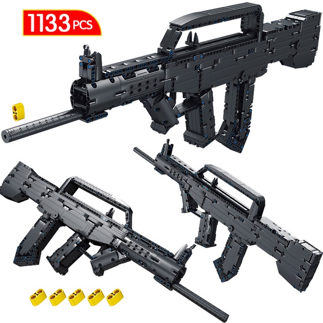 1133PCS WW2 Technic 1:1 Weapon Gun Type 95 Automatic Rifles Model Building Blocks Simulation Military Bricks Toys for Children