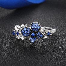 Голубое серебряное кольцо в форме цветка для женщин циркониевое