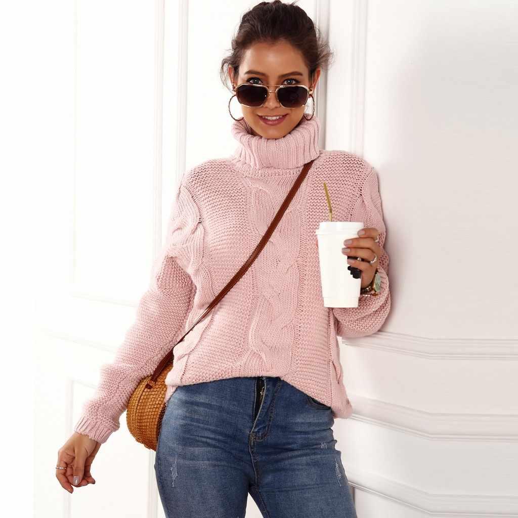 FREIER OSTRICH Mode frauen einfarbig lässig mit langen ärmeln stricken stoff pullover beliebte hohe kragen herbst und winter pullover