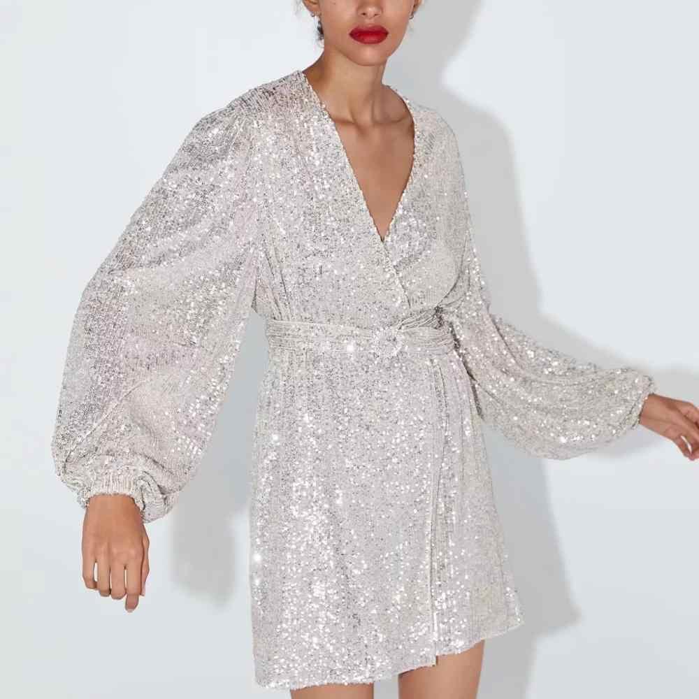 ZA kadınlar elbise 2019 beyaz gümüş pullu sashes v yaka chic bayanlar ince zarif mini kulübü akşam parti elbise kadın elbise