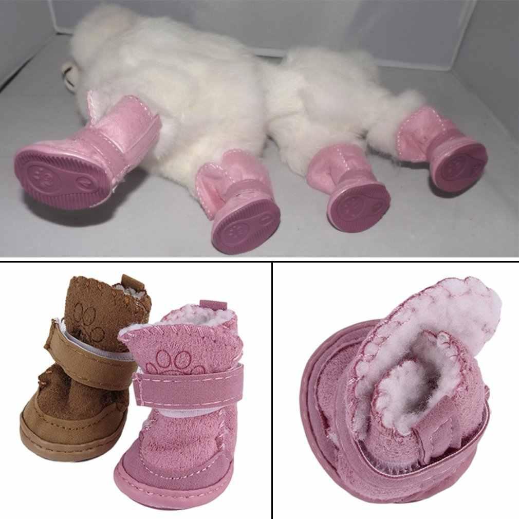 ורוד & חאקי נוח אופנתי לחיות מחמד כלב נעלי שלג מגפי ילד טדי כותנה פשתן קטן כלב נעלי שלג מגפי לשמור חם