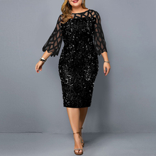 Plus Size Women Bodycon Dress Elegant Sequined 3/4 Mesh Sleeve Evening Party