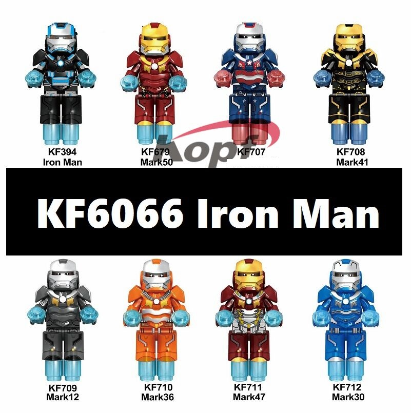 20Pcs Wholesales Building Blocks Super Heroes Iron Man Mark 50 Mark 41 12 36 47 30 Figures Education For Children Toys <font><b>KF6066</b></font> image