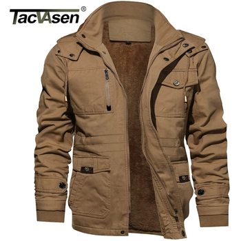 TACVASEN Winter Thick Cotton Cargo Jacket Mens Fleece Lining Jacket Parka Coat Thermal Military Hooded Jacket Casual Windbreaker 1