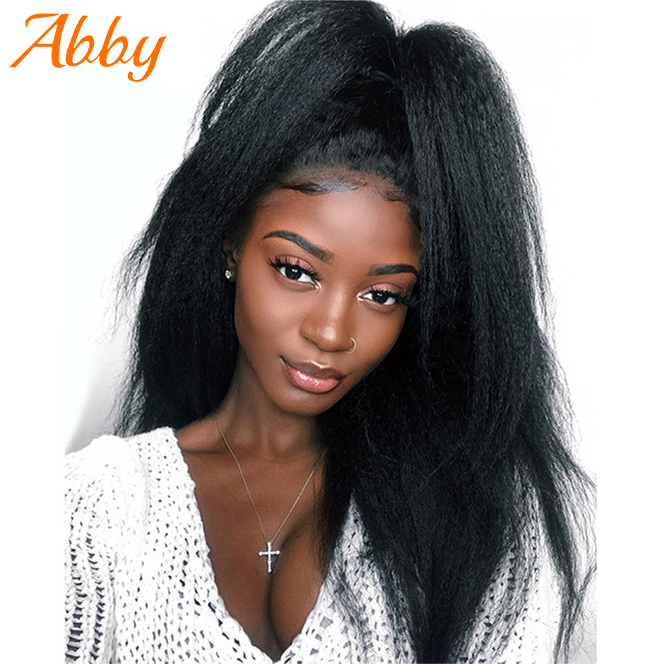 Yaki Straight Malaysian 13x4/13x6 Lace Front Human Hair Wigs Kinky Straight Lace Frontal Wig For Black Women Full Abby Lace Wigs