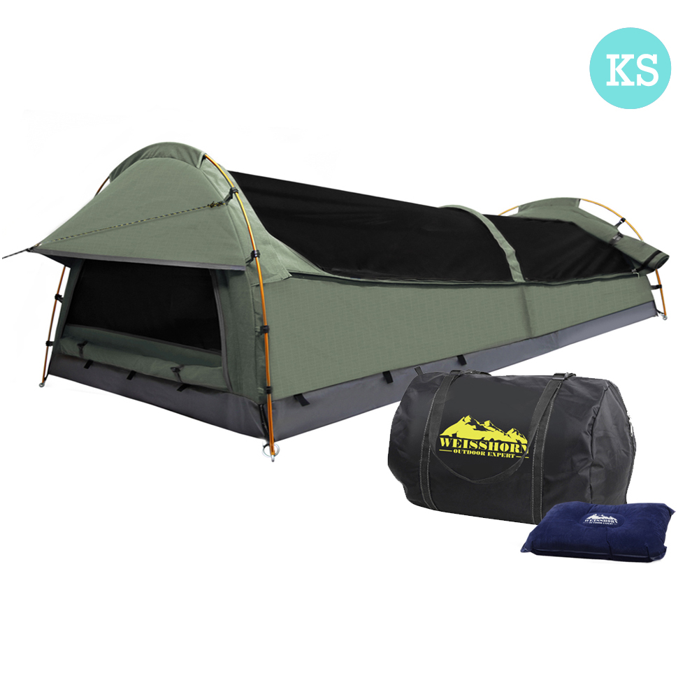 Weisshorn King Single Swag Camping Swag Canvas Tent - Celadon SWAG-SIN-GS-CE Lightweight UV Resistant Waterproof Canvas Swag