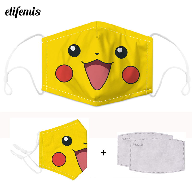 Cute Cartoon Pikachu Face Protection Mask Anti Dust Kawaii Mouth Mask Unisex Adult Kpop Mask Anime Face Mask Safety Respirator