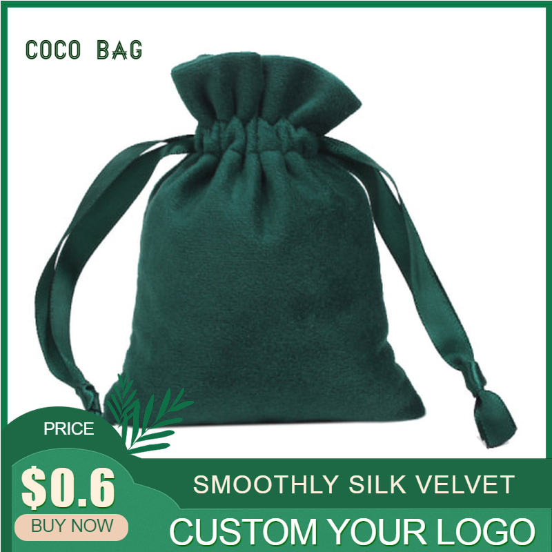 Customized Super Soft Silk Velvet Drawstring Pouches Ribbon Small Smoothly Flannel Cloth Bag Jewelry Bead Storage Containers