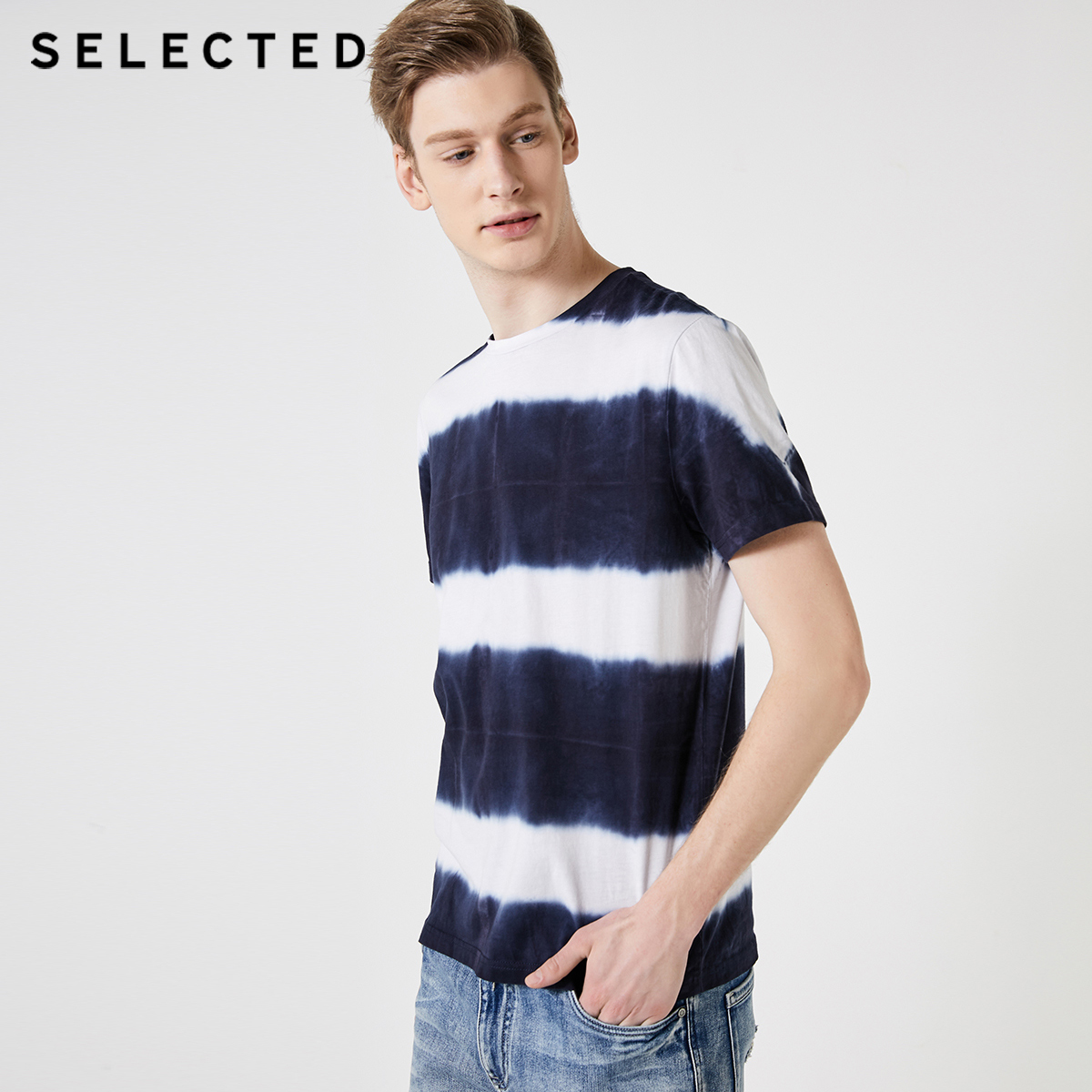 SELECTED 100% Cotton Tie-dyed Short-sleeved T-shirt S|419201633