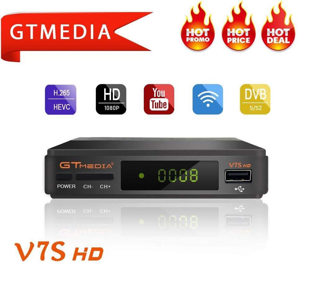 GTMEDIA V7S HD récepteur de télévision par Satellite numérique DVB-S2 + récepteur Wifi USB + 5 lignes Europe Cline cccam support de compte powervu 1080P