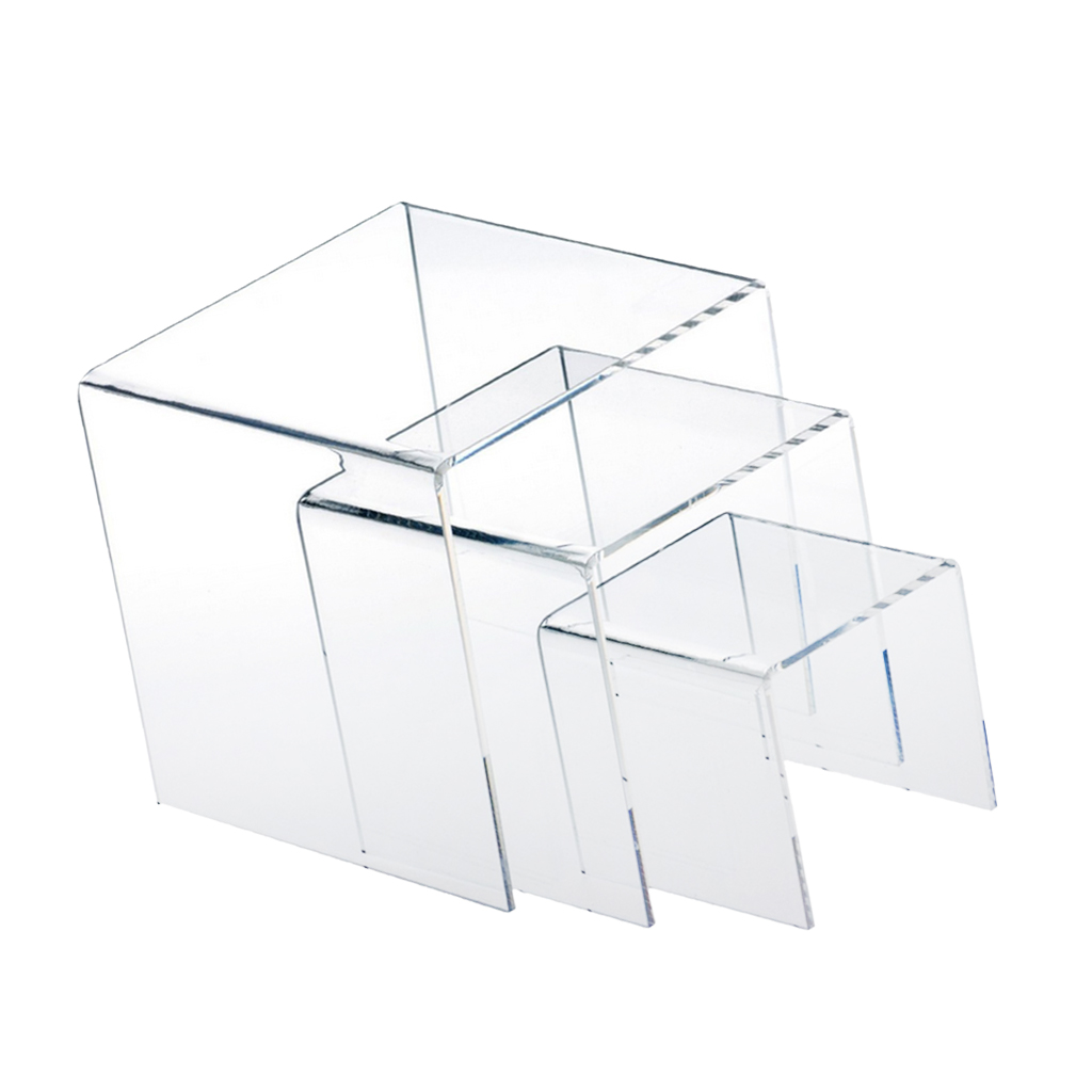 Set Of 3Pcs Clear Acrylic Display Riser Stand Jewelry Gifts Showcase