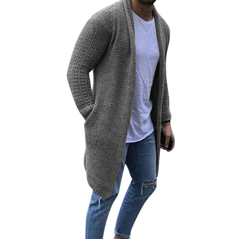 DIHOPE 2020 New Cardigan Men Long Sleeve Midi Sweater Coat With Pocket Winter And Autumn Casual Solid Color Cardigans