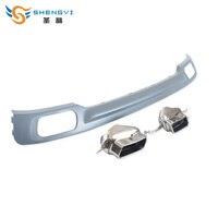 Hotselling um conjunto de carro pára-choques difusor e prata boca quadrada silenciador ponta da cauda apto para bmw série 7 730 atualizar 740