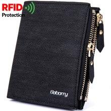 Винтажный Мужской кошелек с защитой от кражи RFID, сумка для монет, кошелек на молнии, кошельки для мужчин с молниями, волшебный кошелек, Короткие роскошные мужские кошельки