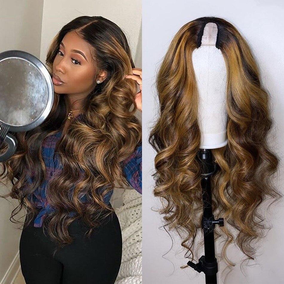 Miele biondo evidenzia capelli umani parrucche parte U parrucche brasiliane Remy a densità 180% parrucche ondulate ondulate bionde medio aperte parrucche Upart