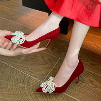 2022 New Women 8cm Thin High Heels Sweet Beaded Pumps Flock Slim Fit Pointed Toe Red Heels Female Wedding Plus Size Party Shoes 1