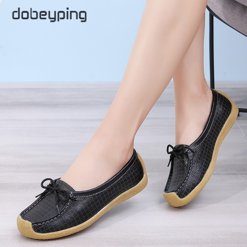 New Spring Autumn Shoes Woman Genuine Leather Women Flats Lace-Up Women's Loafers Square Toe Non Slip Female Shoe Big Size 35-44