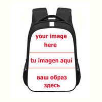 Customize The Image Logo Name Backpack Women Men Travel Bag Children School Bags for Teenager Boys Girls Daypack Kids Bookbag