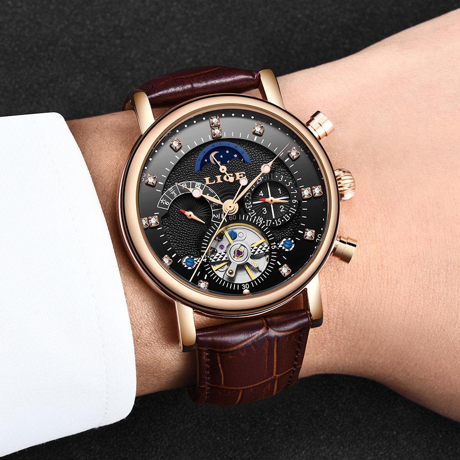 H9e21b426685549c8ae71e02ef8445c99k LIGE Gift Mens Watches Brand Luxury Fashion Tourbillon Automatic Mechanical Watch Men Stainless Steel watch Relogio Masculino