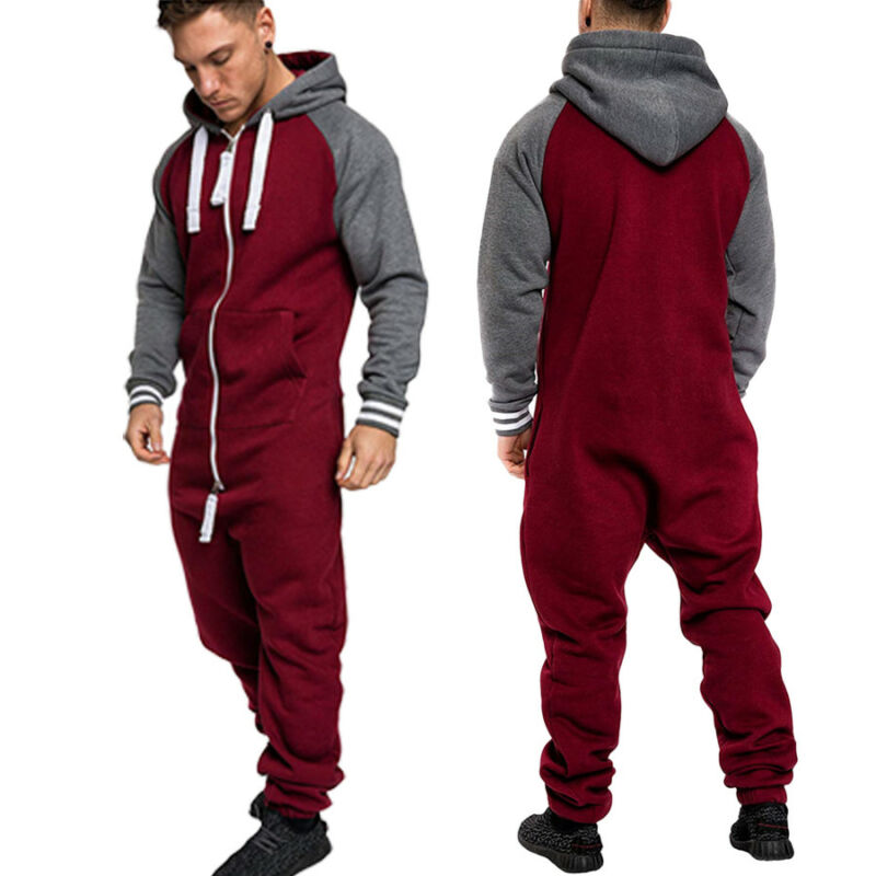 Meihuida Autumn Winter Men Casual  One Piece Long Sleeve Thick Warm Cargo Trouser Hooded Jumpsuit Overalls