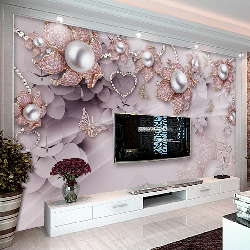 Custom Wall Mural Wallpaper 3D Jewelry Flowers TV Background Photo Wallpapers For Living Room Bedroom Waterproof Canvas Painting