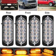 4 pces 12led carro caminhão lâmpada strobe luz kit ultra fino frete lado barra da lâmpada piscando 12-24v 36w luz de advertência acessórios do carro
