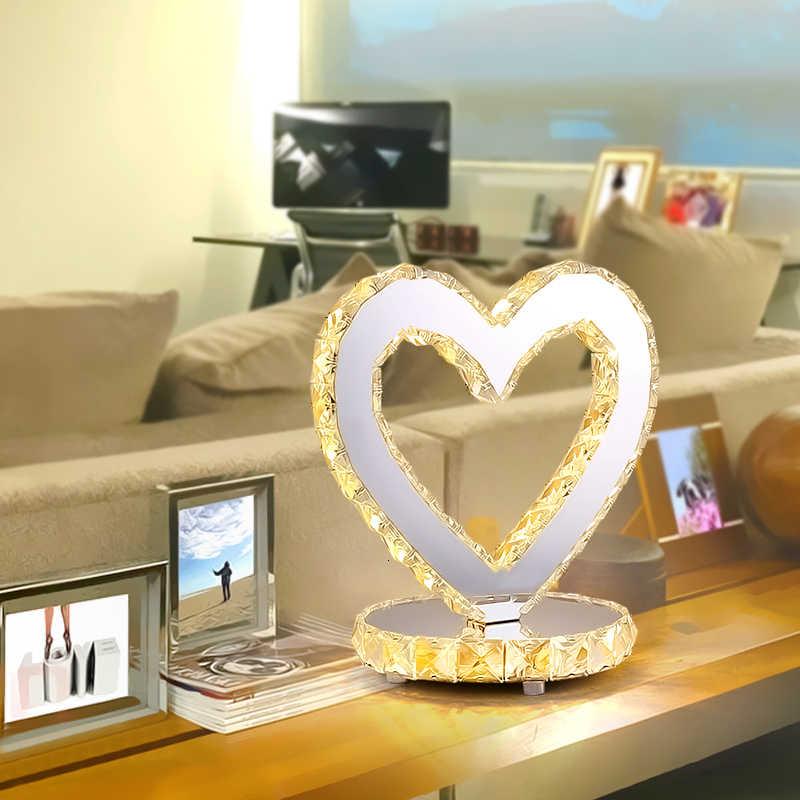 Moderne Amerikaanse Tafel Lampen Slaapkamer Bed Side Bureaulamp Crystal Luxe Romantische Antieke Messing Tafellamp Hart Vorm Nachtverlichting