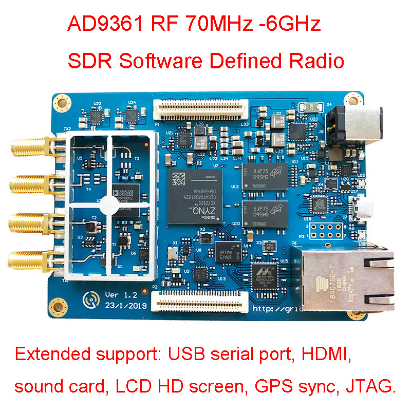 AD9361 RF 70MHz -6GHz SDR Software Defined Radio USB2.0 HS Full Duplex SDR Support USB Serial/HDMI/Sound/LCD HD/GPS / JTAG  H054