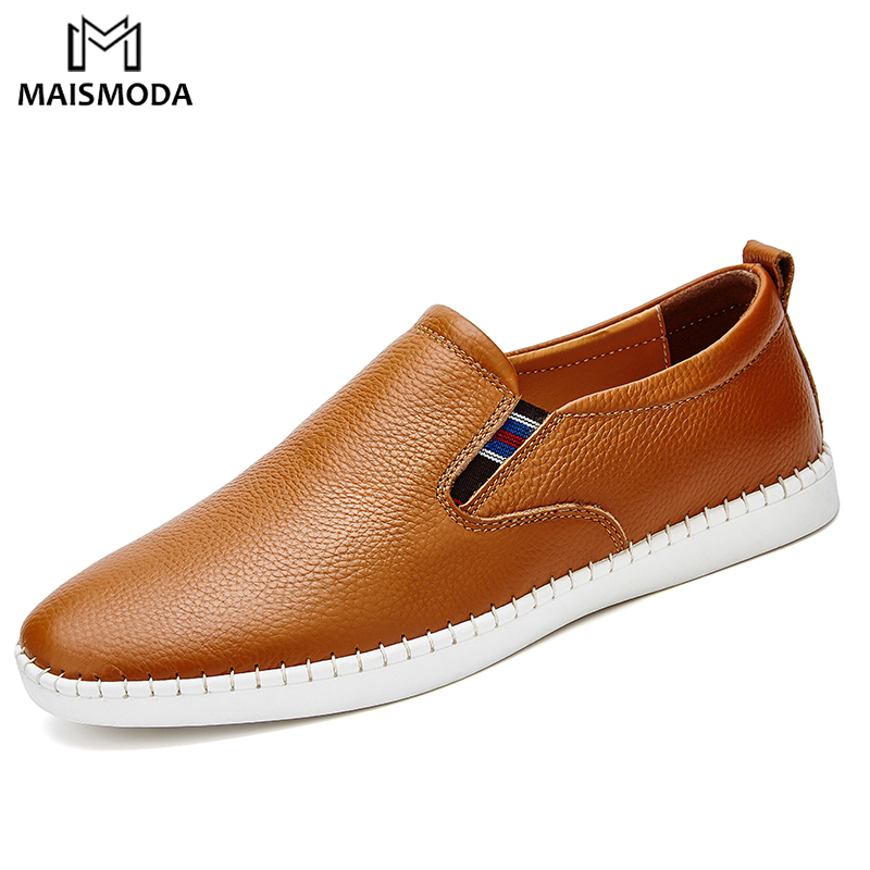 MAISMODA Fashion Men Loafers Driving Shoes Genuine Leather Casual Flats Shoes Slip On High Quality Mocassins Footwear YL682