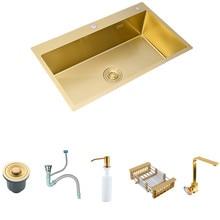 Ouro escovado kichen pia 304 de aço inoxidável única bacia acima do contador ou udermount pia cozinha espessura bacia pias 6
