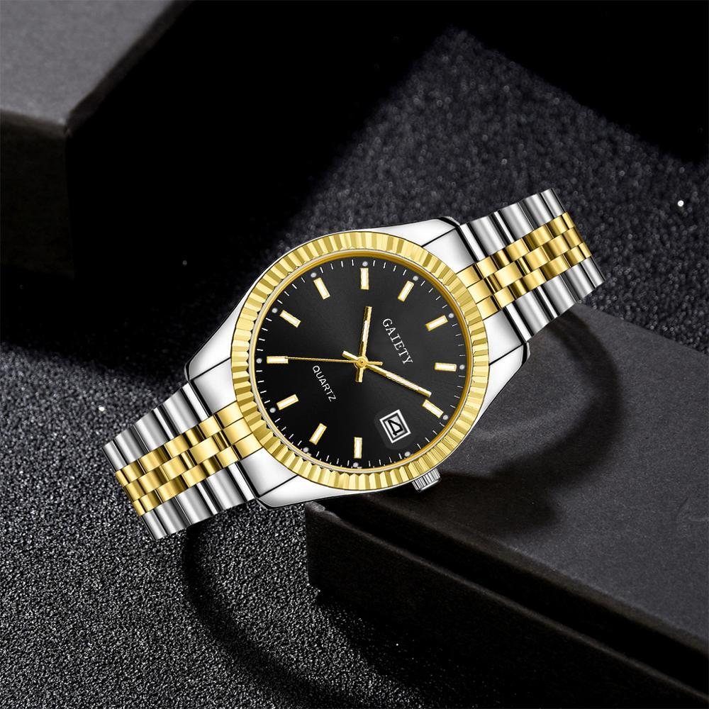 Men watch Gaiety Brand Business Gold Diamond Fashion Calendar Luxury Waterproof Quartz Wristwatch Relogio Masculino 4