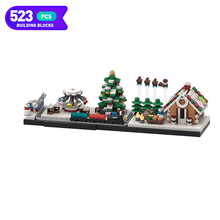 Moc City Architecture Skyline Blocks Winter Series Houses Creative Building Blocks Village Model Children Toys Christmas Gifts