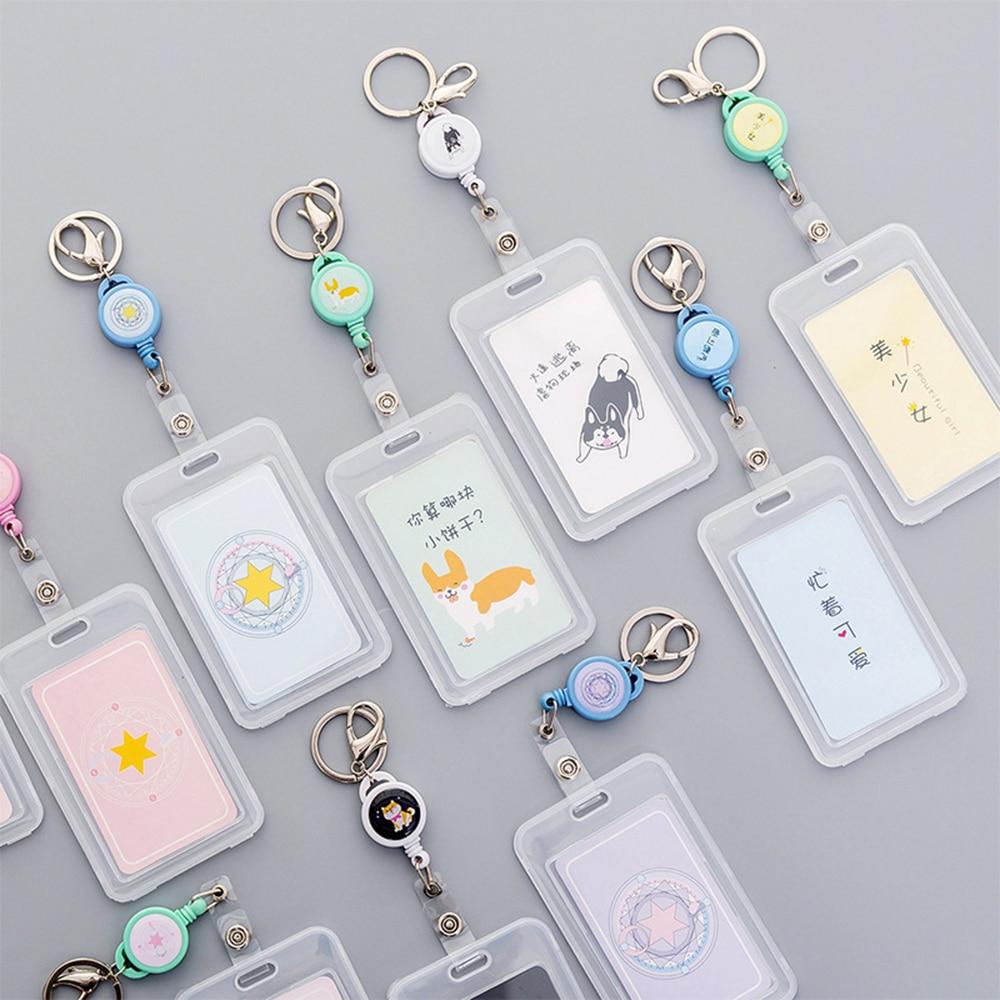 1 Pcs Transparent Unicorn Card Holder Telescopic Cute Animal Keyring ID Bus Card Holders Stationery Gift Badge  Stationery