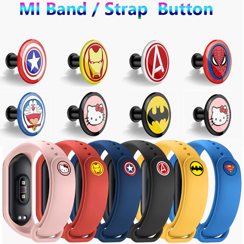 NEW Metal Color Buckle For Xiaomi Miband 4 3 2 Mi Band 4 3 2 Strap Pattern Button Bracelet Miband 4 Limited Edition Wrist Strap