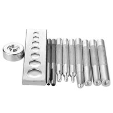 11Pcs/Set Practical Leather Tool Die Punch Set Hole Snap Rivet Setter Base Kit for Home Handmade DIY Craft Tools