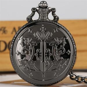 Черный Дворецкий тема карманные часы для мальчиков анимация производные бронзовое ожерелье кулон подарочные часы для мужчин Прямая постав...