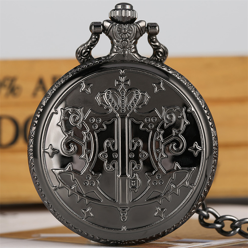 Black Butler Theme Pocket Watch For Boys Animation Derivatives Bronze Necklace Pendant Watches Gift For Men Drop Shipping
