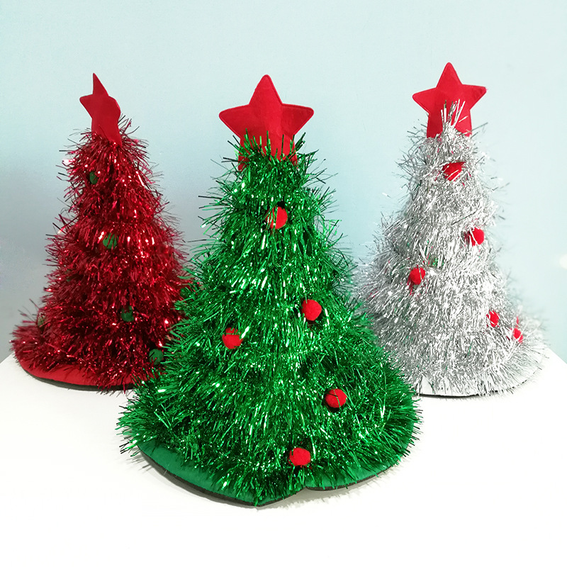 Green 1Pc Funny Christmas Tree Hat Cute Party Hats Christmas Tree Hat with Star Christmas Costume Christmas Hats for Adult