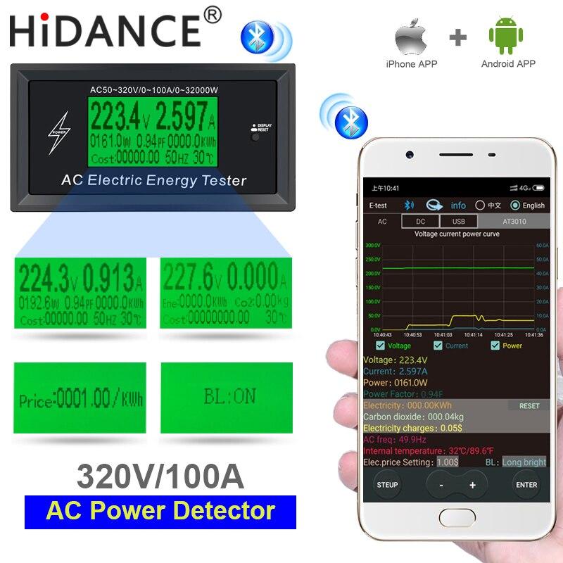 Medidor ac 100a tensão digital telefone app indicador de energia voltímetro amperímetro atual ampères volt wattmeter tester detector