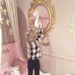 Animal Head Swan Flamingo Wall Hanging Stuffed Plush Toy Princess Doll for Girl Baby Kid Gift Nursery Room Wall Decor Supplies